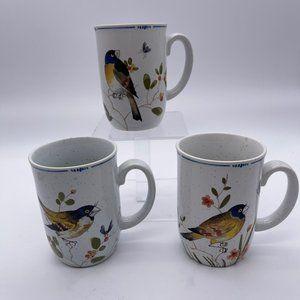 Lot Of 3 Vintage Oiseau Fitz And Floyd Bird Mugs